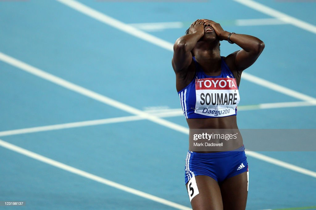 <a gi-track='captionPersonalityLinkClicked' href=/galleries/search?phrase=Myriam+Soumare&family=editorial&specificpeople=5499796 ng-click='$event.stopPropagation()'>Myriam Soumare</a> of France reacts after the women's 200 metres semi finals during day six of the 13th IAAF World Athletics Championships at the Daegu Stadium on September 1, 2011 in Daegu, South Korea.
