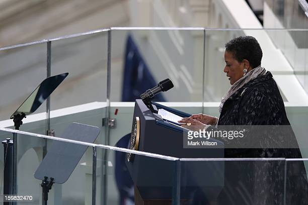 Myrlie EversWilliams speaks during the presidential inauguration on the West Front of the US Capitol January 21 2013 in Washington DC Barack Obama...