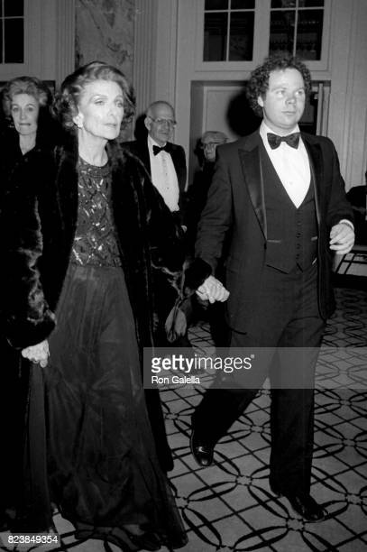 Myrna Loy and John Springer attend 'The Animal Kingdom' Screening Party on January 15 1985 at the Russian Tea Room in New York City