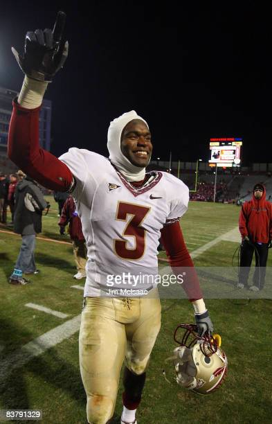 Myron Rolle of the Florida State Seminoles walks off the field after defeating the Maryland Terrapins on November 22 2008 at Byrd Stadium in College...