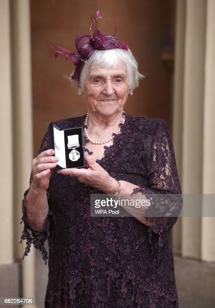 Myrtle Simpson poses after she was awarded The Polar Medal by the Duke of Cambridge during an Investiture ceremony at Buckingham Palace on May 12...