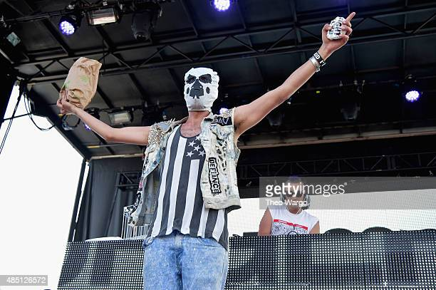 Mysterio performs with SAV of Fight Clvb during Billboard Hot 100 Festival Day 2 at Nikon at Jones Beach Theater on August 23 2015 in Wantagh New York