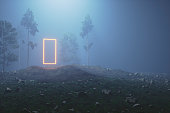 Mysterious glowing portal in the forest at night.
