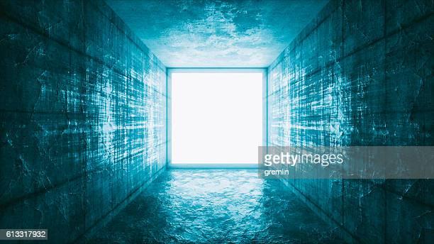 Mysterious glowing window portal