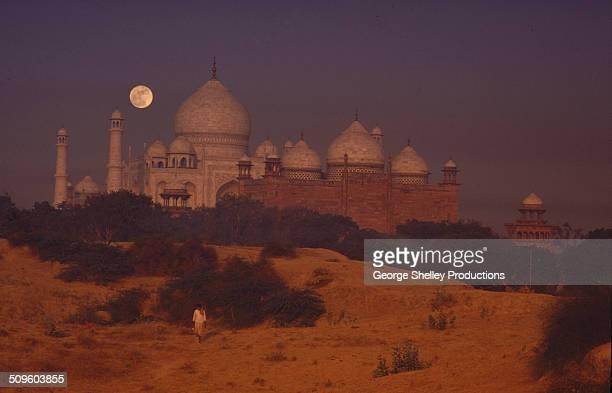 Mysterious Taj Mahal landscape under a full moon