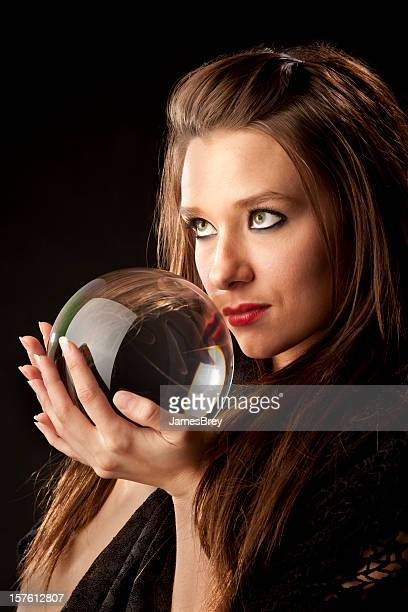 Mysterious Woman Fortune Teller With Crystal Ball