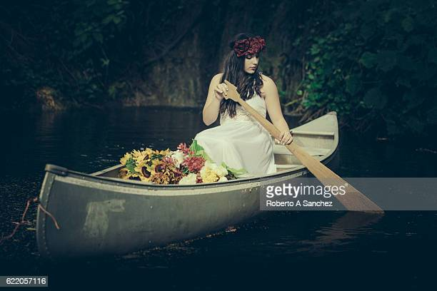 Mystic teen on canoe