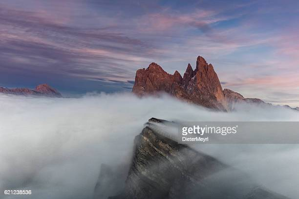 Mystical sunset at Seceda in south Tirol
