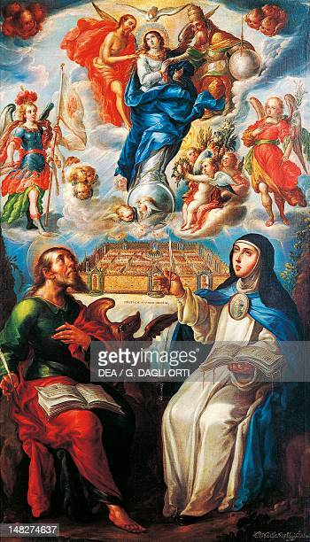 Mystical Vision with St John the Evangelist and Mary Mother of Jesus of Agreda by Cristobal de Villalpando Zacatecas Museo Virreinal De Guadalupe