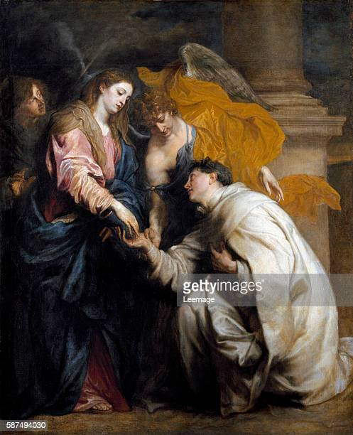 Mystics Engagement of Blessed Joseph Hermann with the Virgin Mary or The vision of Blessed Joseph Hermann Painting by Sir Anthony van Dyck oil on...