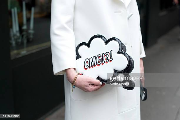 Mywishstyle Fashion blogger Nicky wears a Sophia Webster bag on day 2 during London Fashion Week Autumn/Winter 2016/17 on February 20 2016 in London...