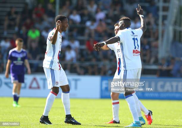 Myziane Maolida of Olympique Lyonnais is congratulated by teammates after scoring the opening goal during the Final match between Olympique Lyon vs...
