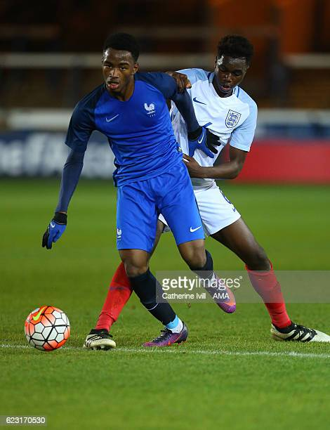 Myziane Maolida of France U18 and Jonathan Deinzeyi of England U18 during the U18 International Friendly match between England and France at London...