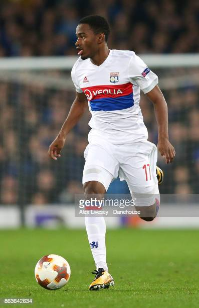 Myziane Maolida of Olympique Lyon runs with the ball during the UEFA Europa League group E match between Everton FC and Olympique Lyon at Goodison...