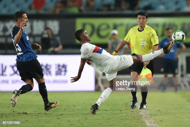 Myziane Maolida of Olympique Lyonnais competes for the ball with Danilo D'Ambrosio of FC Internationale during the 2017 International Champions Cup...