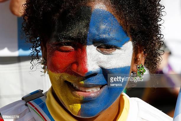 Fan mit Final Begegnungsfarben Fussball Weltmeister Deutschland Weltmeisterschafts Finale Deutschland Argentinien 10 n Verlängerung Finale final...