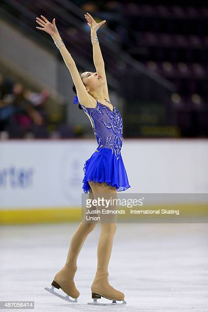 Na Hyun Kim of Korea skates during the junior ladies free skate at World Arena on September 5 2015 in Colorado Springs Colorado