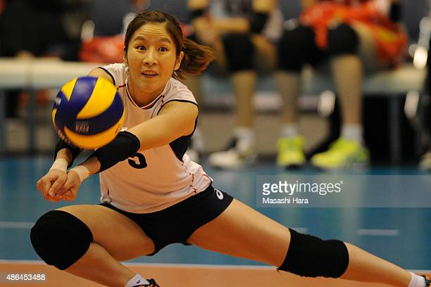 Na Hyunjung of Korea Republic receives the ball during the match between Kenya and South Korea during the FIVB Women's Volleyball World Cup Japan...