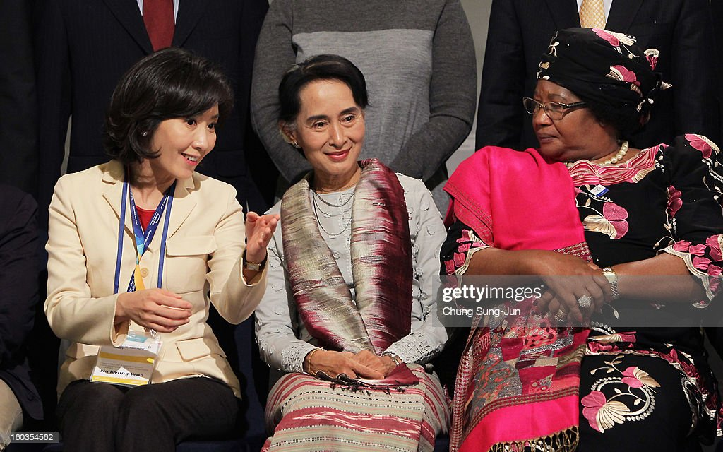 Na Kyung-Won, Chair of the Pyeongchang Special Olympic, Pro-democracy leader Aung San Suu Kyi and Joyce Banda, President of Malawi attend Global Development Summit on the sideline of the Pyeongchang Special Olympic on January 30, 2013 in Pyeongchang-gun, South Korea. Aung San Suu Kyi, Myanmar's opposition leader and Nobel Peace Prize laureate is on a 5-day tour to South Korea.