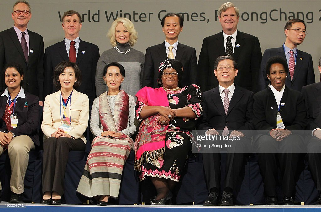 Na Kyung-Won, Chair of the Pyeongchang Special Olympic, Pro-democracy leader <a gi-track='captionPersonalityLinkClicked' href=/galleries/search?phrase=Aung+San+Suu+Kyi&family=editorial&specificpeople=214208 ng-click='$event.stopPropagation()'>Aung San Suu Kyi</a>, <a gi-track='captionPersonalityLinkClicked' href=/galleries/search?phrase=Joyce+Banda&family=editorial&specificpeople=9128776 ng-click='$event.stopPropagation()'>Joyce Banda</a>, President of Malawi and South Korean Prime Minister Kim Hwang-Shik attend Global Development Summit on the sideline of the Pyeongchang Special Olympic on January 30, 2013 in Pyeongchang-gun, South Korea.