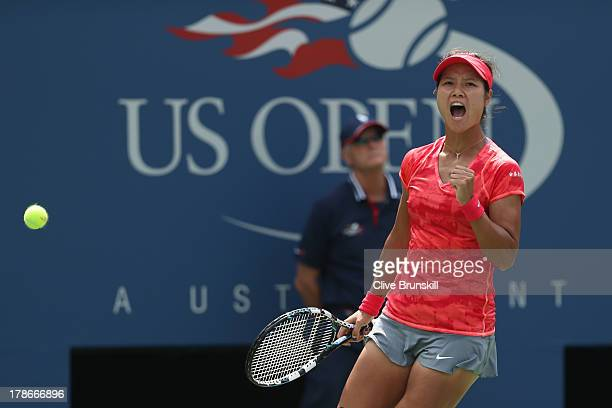 Na Li of China celebrates a point during her women's singles third round match against Laura Robson of Great Britain on Day Five of the 2013 US Open...