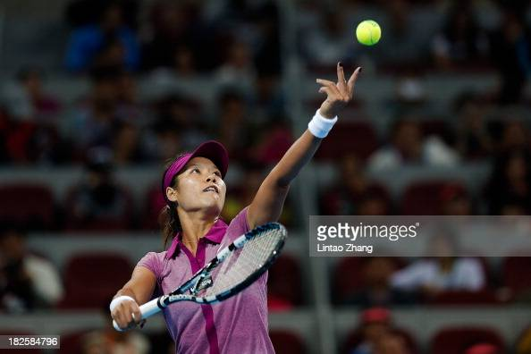 Na Li of China serves to Bojana Jovanovski of Serbia on day four of the 2013 China Open at the National Tennis Center on September 29 2013 in Beijing...
