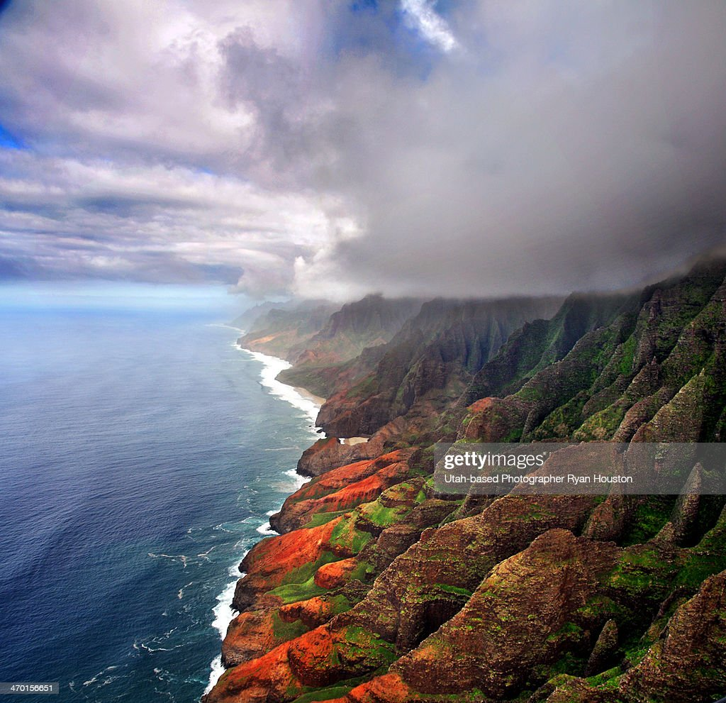 Na Pali Coast from Helicopter Seat Kauai, Hawaii