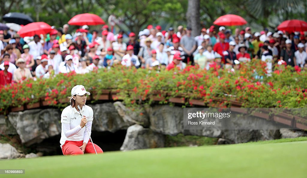 <a gi-track='captionPersonalityLinkClicked' href=/galleries/search?phrase=Na+Yeon+Choi&family=editorial&specificpeople=4979078 ng-click='$event.stopPropagation()'>Na Yeon Choi</a> of South Korea during the final round of the HSBC Women's Champions at the Sentosa Golf Club on March 3, 2013 in Singapore, Singapore.