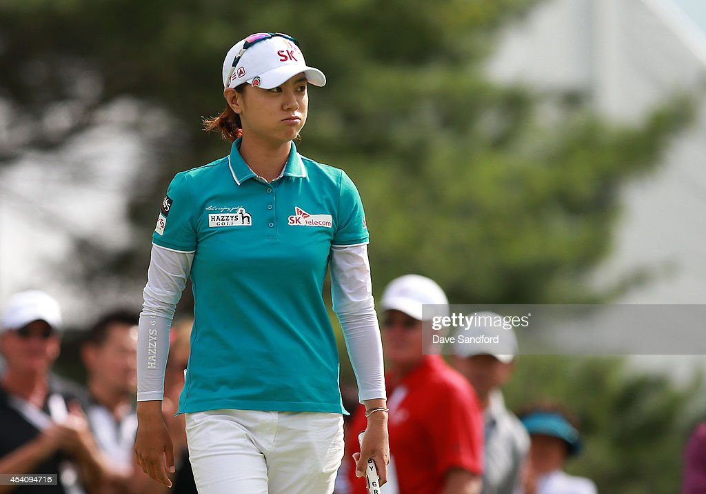 <a gi-track='captionPersonalityLinkClicked' href=/galleries/search?phrase=Na+Yeon+Choi&family=editorial&specificpeople=4979078 ng-click='$event.stopPropagation()'>Na Yeon Choi</a> of South Korea exhales on the 15th hole during the fourth round of the LPGA Canadian Pacific Women's Open at the London Hunt and Country Club on August 24, 2014 in London, Ontario, Canada.