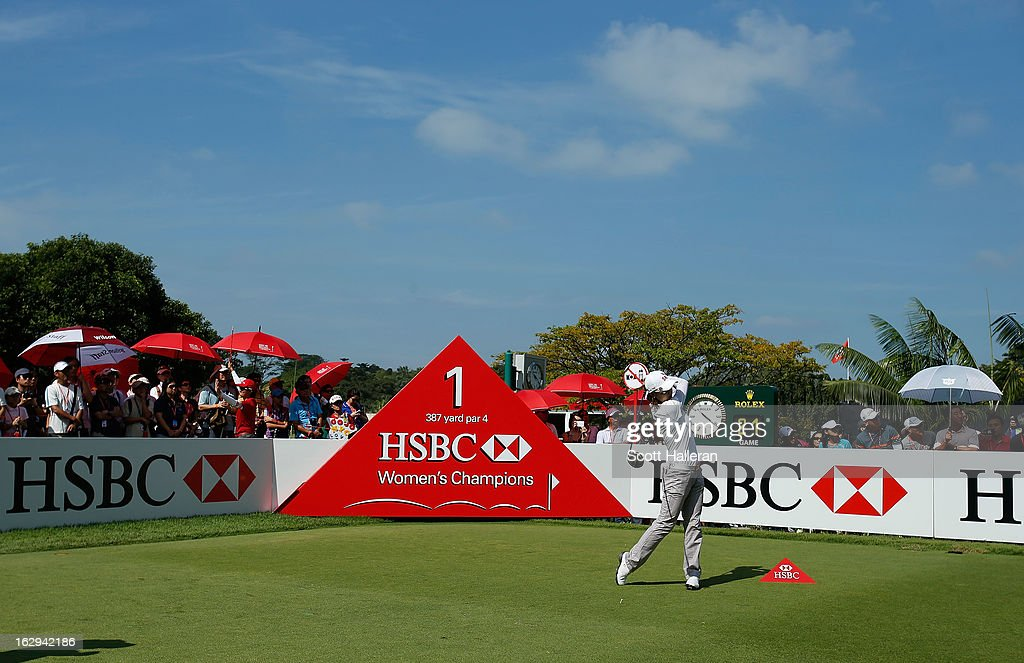 Na Yeon Choi of South Korea hits her opening drive on the first hole during the third round of the HSBC Women's Champions at the Sentosa Golf Club on March 2, 2013 in Singapore, Singapore.