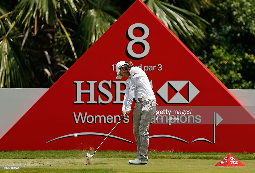 Na Yeon Choi of South Korea hits her tee shot on the 8th hole during the third round of the HSBC Women's Champions at the Sentosa Golf Club on March 2, 2013 in Singapore, Singapore.