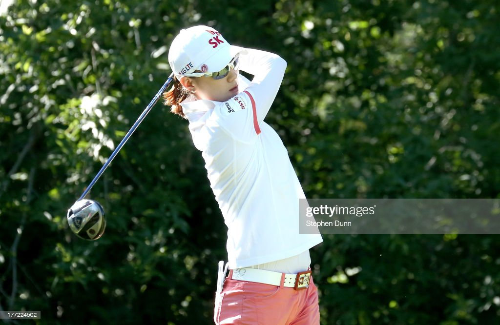 <a gi-track='captionPersonalityLinkClicked' href=/galleries/search?phrase=Na+Yeon+Choi&family=editorial&specificpeople=4979078 ng-click='$event.stopPropagation()'>Na Yeon Choi</a> of South Korea hits her tee shot on the fifth hole during the CN Canadian Women's Open at Royal Mayfair Golf Club on August 22, 2013 in Edmonton, Alberta, Canada.