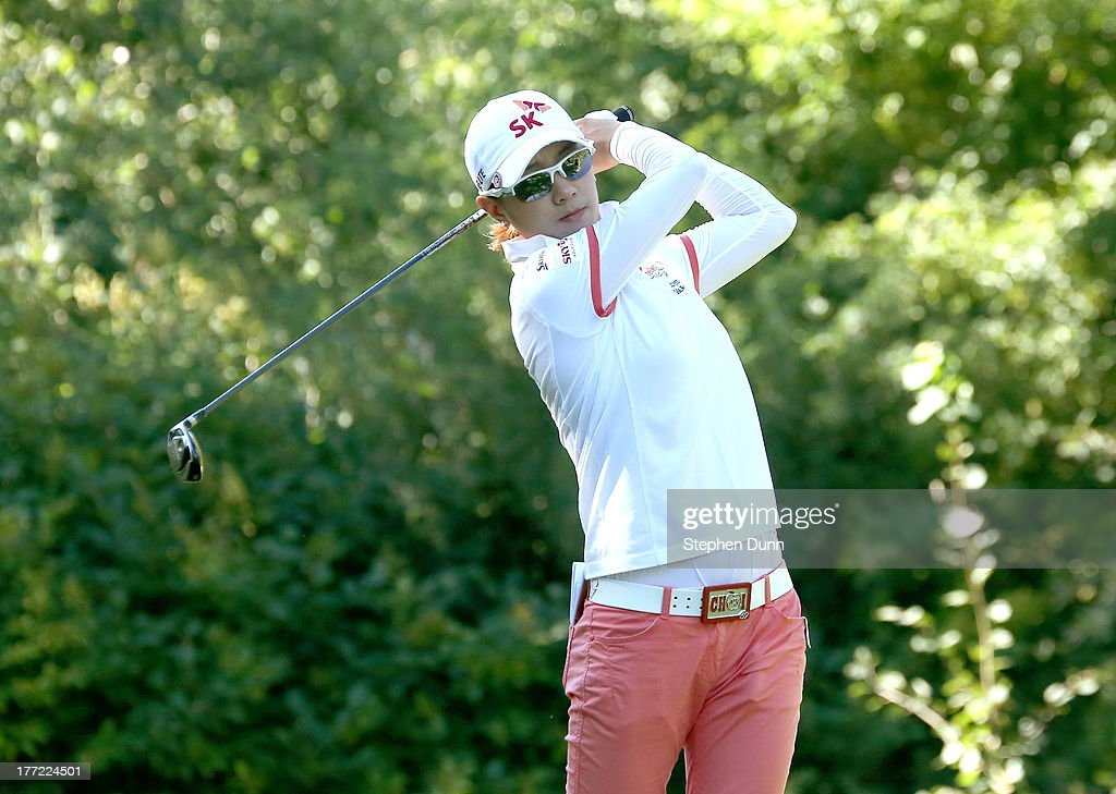 <a gi-track='captionPersonalityLinkClicked' href=/galleries/search?phrase=Na+Yeon+Choi&family=editorial&specificpeople=4979078 ng-click='$event.stopPropagation()'>Na Yeon Choi</a> of South Korea hits her tee shot on the sixth hole during the CN Canadian Women's Open at Royal Mayfair Golf Club on August 22, 2013 in Edmonton, Alberta, Canada.