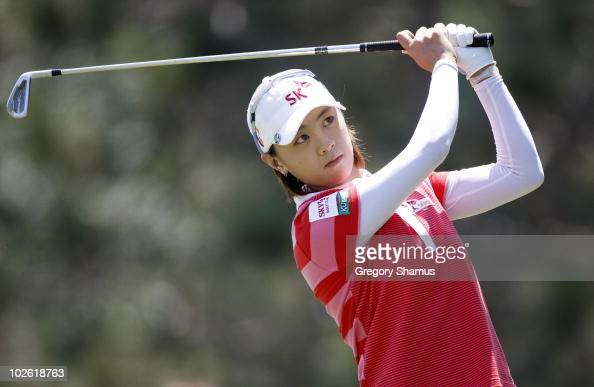 Na Yeon Choi of South Korea hits hits her tee shot on the second hole during the final round of the Jamie Farr Owens Corning Classic at Highland...