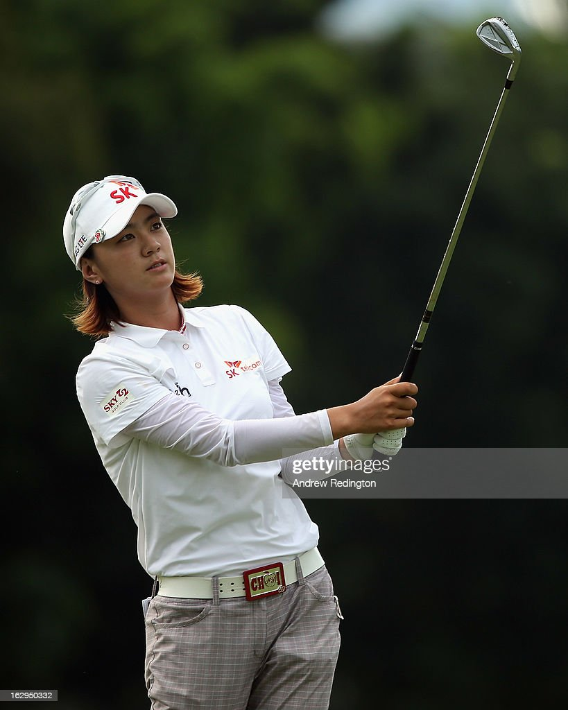 <a gi-track='captionPersonalityLinkClicked' href=/galleries/search?phrase=Na+Yeon+Choi&family=editorial&specificpeople=4979078 ng-click='$event.stopPropagation()'>Na Yeon Choi</a> of South Korea in action during the third round of the HSBC Women's Champions at the Sentosa Golf Club on March 2, 2013 in Singapore, Singapore.