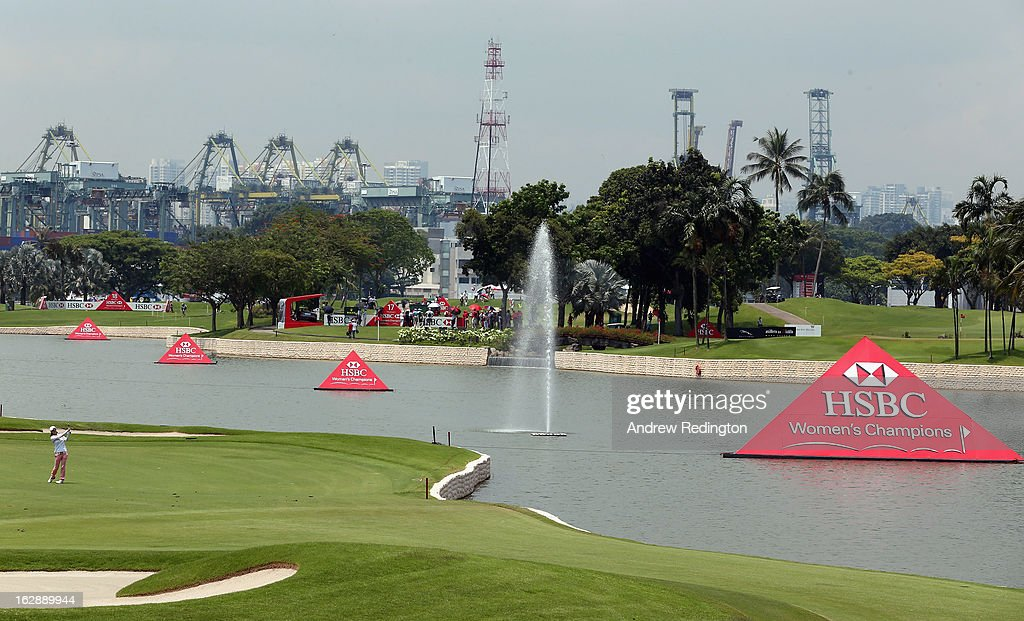 Na Yeon Choi of South Korea plays her third shot on the 18th hole during the second round of the HSBC Women's Champions at the Sentosa Golf Club on March 1, 2013 in Singapore, Singapore.