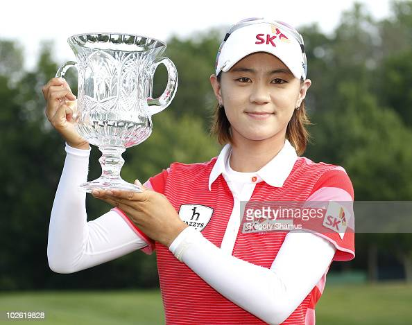 Na Yeon Choi of South Korea poses with the trophy after winning the Jamie Farr Owens Corning Classic at Highland Meadows Golf Club on July 4 2010 in...