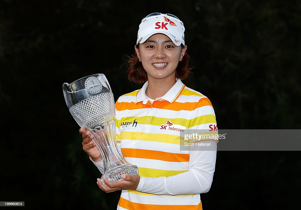 <a gi-track='captionPersonalityLinkClicked' href=/galleries/search?phrase=Na+Yeon+Choi&family=editorial&specificpeople=4979078 ng-click='$event.stopPropagation()'>Na Yeon Choi</a> of South Korea poses with the winner's trophy after her two-stroke victory at the CME Group Titleholders at the TwinEagles Club on November 18, 2012 in Naples, Florida.