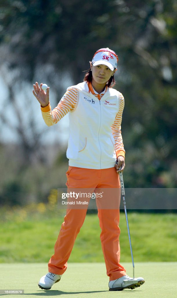 Na Yeon Choi of South Korea reacts to a birdie putt on the 1st hole during the Final Round of the LPGA 2013 Kia Classic at the Park Hyatt Aviara Resort on March 24, 2013 in Carlsbad, California.