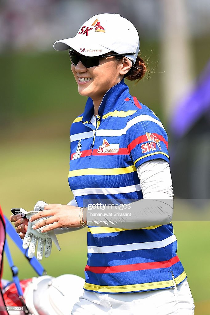 <a gi-track='captionPersonalityLinkClicked' href=/galleries/search?phrase=Na+Yeon+Choi&family=editorial&specificpeople=4979078 ng-click='$event.stopPropagation()'>Na Yeon Choi</a> of South Korea smiles during day one of the 2015 LPGA Thailand at Siam Country Club on February 26, 2015 in Chon Buri, Thailand.