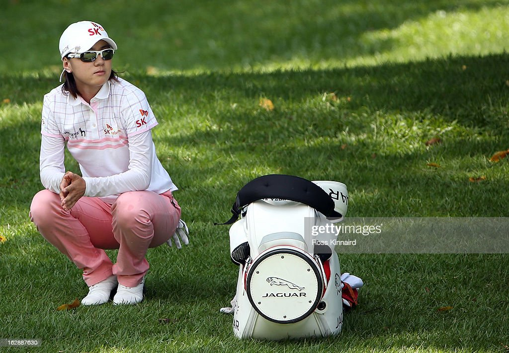 Na Yeon Choi of South Korea waits to play a shot during the second round of the HSBC Women's Champions at the Sentosa Golf Club on March 1, 2013 in Singapore, Singapore.