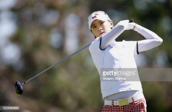 Na Yeon Choi of South Korea watches her drive on the 15th hole during the second round of the Jamie Farr Owens Corning Classic at Highland Meadows...