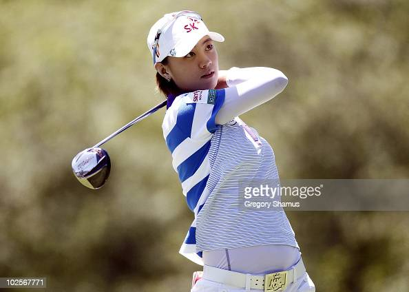 Na Yeon Choi of South Korea watches her drive on the 7th hole during the first round of the Jamie Farr Owens Corning Classic at Highland Meadows Golf...