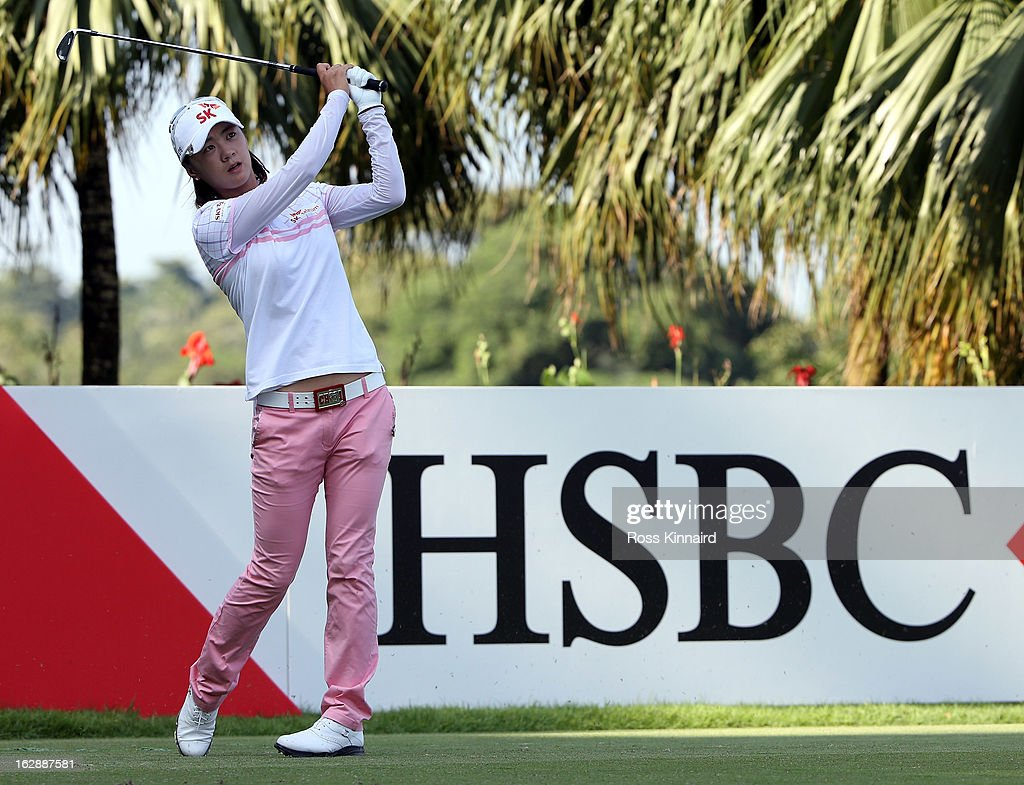 Na Yeon Choi of South Korea watches her tee shot on the second hole during the second round of the HSBC Women's Champions at the Sentosa Golf Club on March 1, 2013 in Singapore, Singapore.