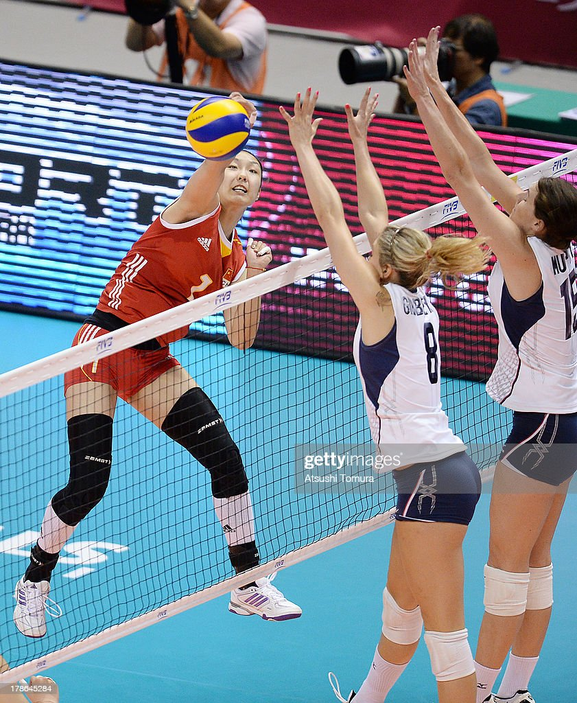 Na Yin of China in action during day three of the FIVB World Grand Prix Sapporo 2013 match between China and USA at Hokkaido Prefectural Sports Center on August 30, 2013 in Sapporo, Hokkaido, Japan.