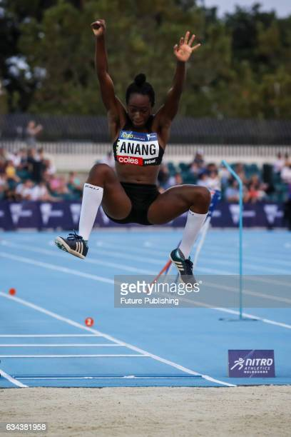 Naa Anang of Team Bolt All Stars in the long jump on night 2 of Nitro Athletics on February 9 2017 in Melbourne Australia Chris Putnam / Barcroft...