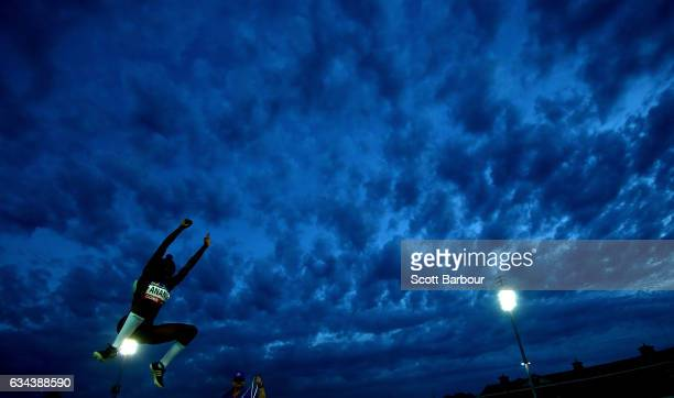 Naa Anang of Usain Bolt's AllStar team competes in the Women Long Jump event during the 2017 Nitro Athletics Series at Lakeside Stadium on February 9...