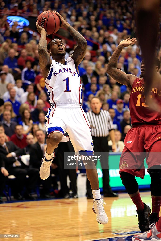 Naadir Tharpe #1 of the Kansas Jayhawks shoots during the game against the Iowa State Cyclones at Allen Fieldhouse on January 9, 2013 in Lawrence, Kansas.