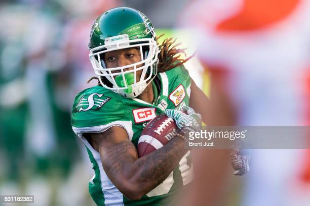 Naaman Roosevelt of the Saskatchewan Roughriders runs after a catch in the game between the BC Lions and the Saskatchewan Roughriders at Mosaic...