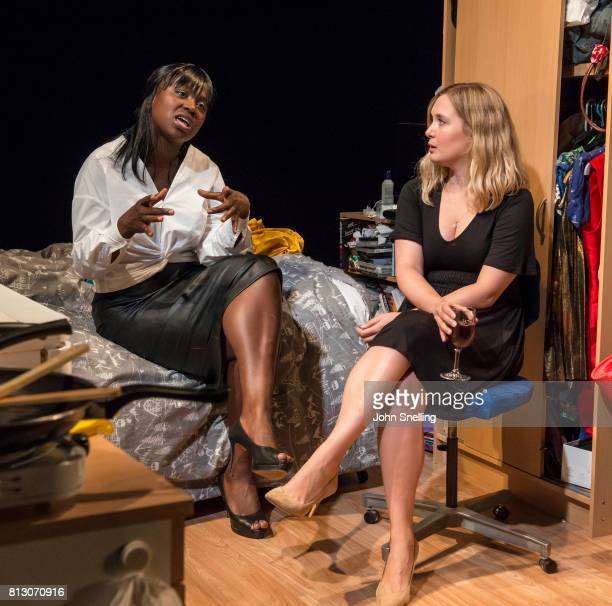 Naana AgyeiAmpadu as Vera and Amy Morgan as Dee perform on stage during performance of the 'Touch' a new play written and directed by Vicky Jones at...